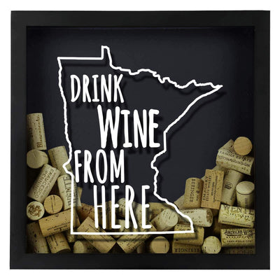 Torched Products Shadow Box Minnesota Drink Wine From Here Wine Cork Shadow Box (795745321077)