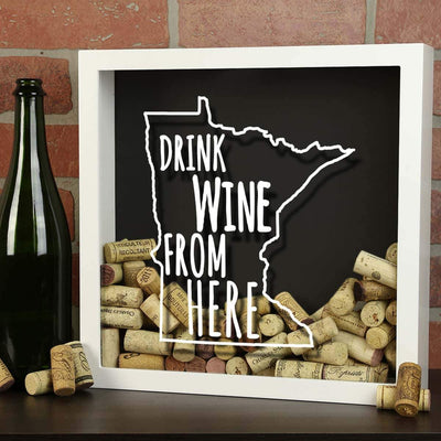 Torched Products Shadow Box Minnesota Drink Wine From Here Wine Cork Shadow Box