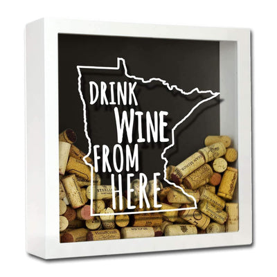 Torched Products Shadow Box White Minnesota Drink Wine From Here Wine Cork Shadow Box (795745321077)