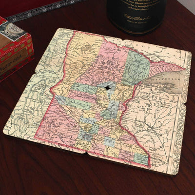 Torched Products Coasters Minnesota Old World Map Coaster (790593732725)