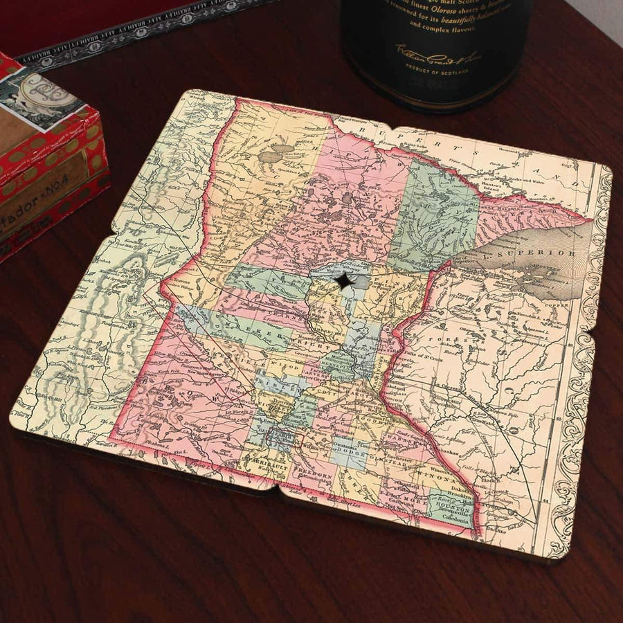 Torched Products Coasters Minnesota Old World Map Coaster