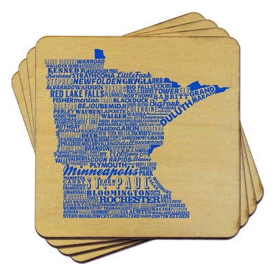 Torched Products Coasters Minnesota State Typography Coaster