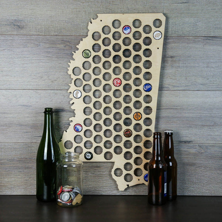 Torched Products Beer Bottle Cap Holder Mississippi Beer Cap Map