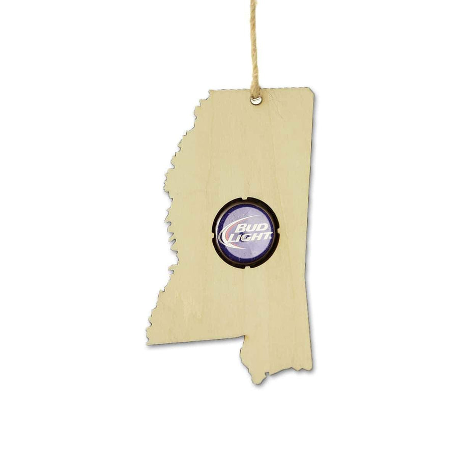 Torched Products Beer Cap Maps Mississippi Beer Cap Map Ornaments