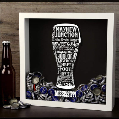 Torched Products Shadow Box Mississippi Beer Typography Shadow Box
