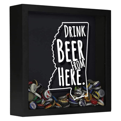 Torched Products Shadow Box Black Mississippi Drink Beer From Here Beer Cap Shadow Box