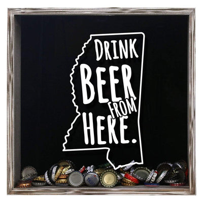 Torched Products Shadow Box Gray Mississippi Drink Beer From Here Beer Cap Shadow Box (781178929269)