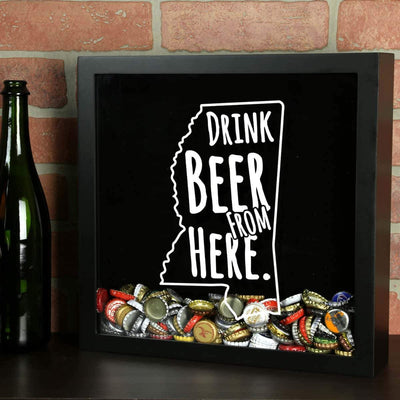 Torched Products Shadow Box Mississippi Drink Beer From Here Beer Cap Shadow Box
