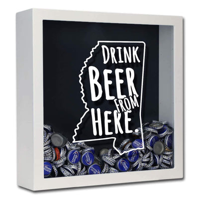 Torched Products Shadow Box White Mississippi Drink Beer From Here Beer Cap Shadow Box (781178929269)