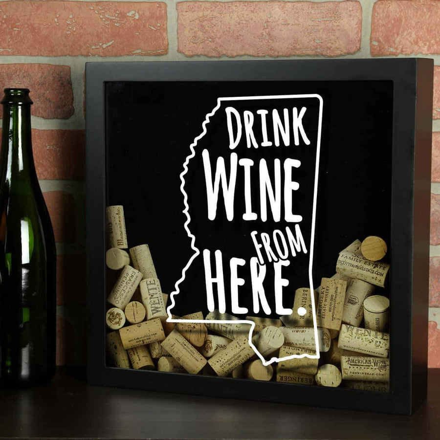 Torched Products Shadow Box Black Mississippi Drink Wine From Here Wine Cork Shadow Box