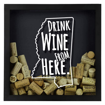 Torched Products Shadow Box Mississippi Drink Wine From Here Wine Cork Shadow Box