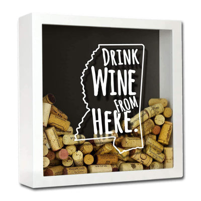 Torched Products Shadow Box White Mississippi Drink Wine From Here Wine Cork Shadow Box (795746500725)