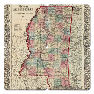 Torched Products Coasters Mississippi Old World Map Coaster