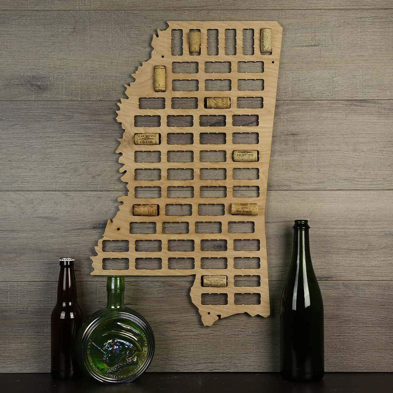 Mississippi Wine Cork Map Torched Products