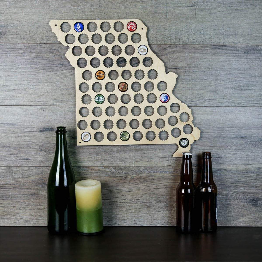 Torched Products Beer Bottle Cap Holder Missouri Beer Cap Map