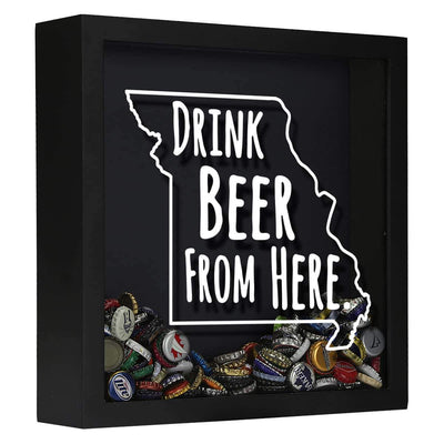 Torched Products Shadow Box Black Missouri Drink Beer From Here Beer Cap Shadow Box (781177094261)