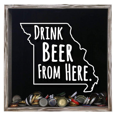 Torched Products Shadow Box Gray Missouri Drink Beer From Here Beer Cap Shadow Box