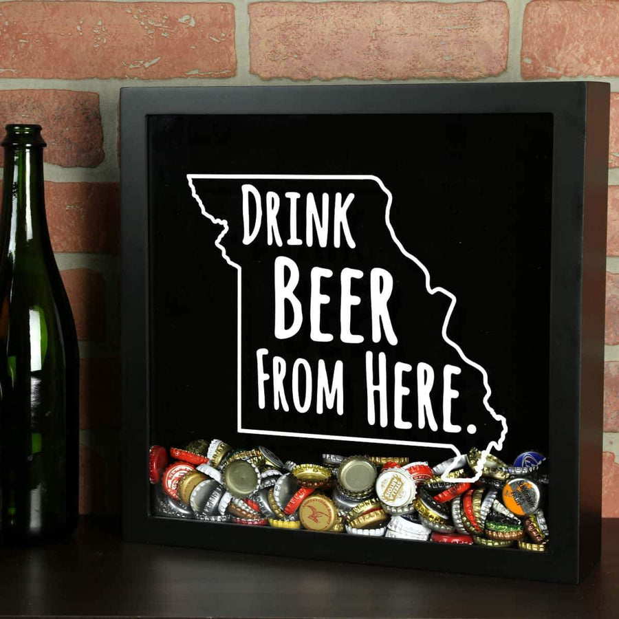 Torched Products Shadow Box Black Missouri Drink Beer From Here Beer Cap Shadow Box