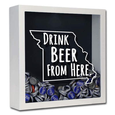 Torched Products Shadow Box White Missouri Drink Beer From Here Beer Cap Shadow Box (781177094261)