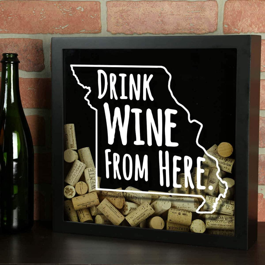 Torched Products Shadow Box Black Missouri Drink Wine From Here Wine Cork Shadow Box (795747057781)