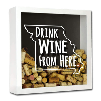 Torched Products Shadow Box White Missouri Drink Wine From Here Wine Cork Shadow Box
