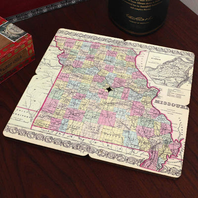 Torched Products Coasters Missouri Old World Map Coaster