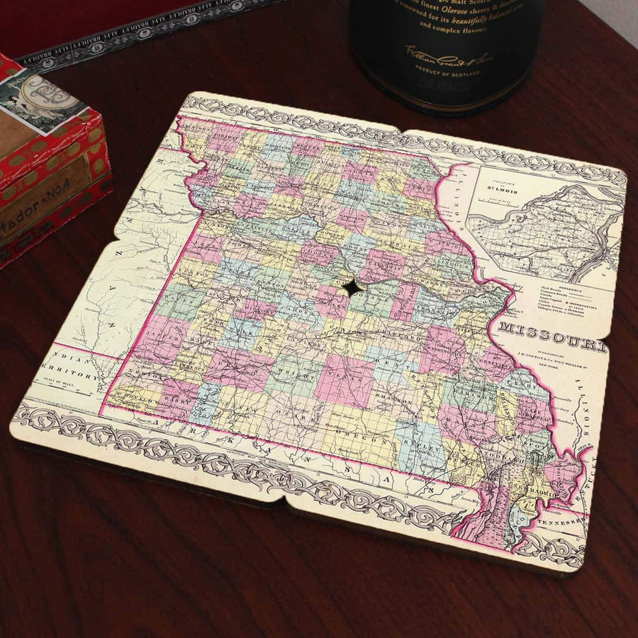Torched Products Coasters Missouri Old World Map Coaster (790593831029)