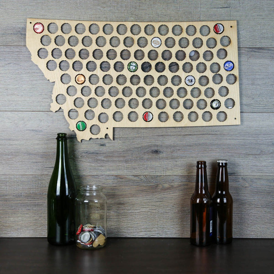 Torched Products Beer Bottle Cap Holder Montana Beer Cap Map