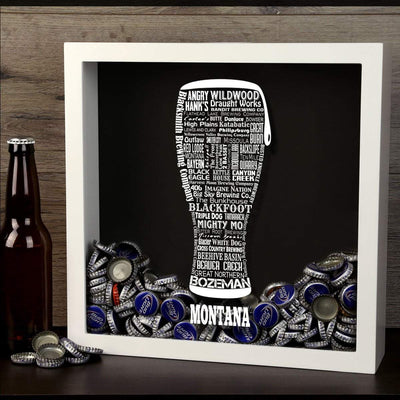 Torched Products Shadow Box Montana Beer Typography Shadow Box