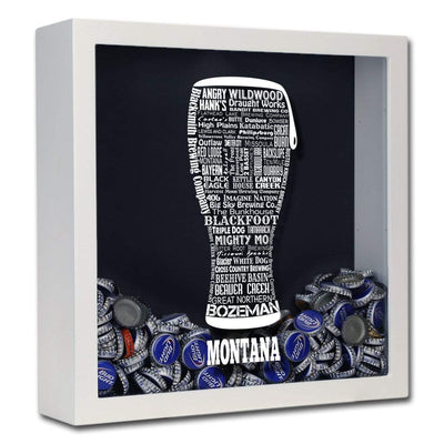 Torched Products Shadow Box White Montana Beer Typography Shadow Box