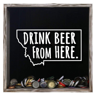 Torched Products Shadow Box Gray Montana Drink Beer From Here Beer Cap Shadow Box (781179551861)