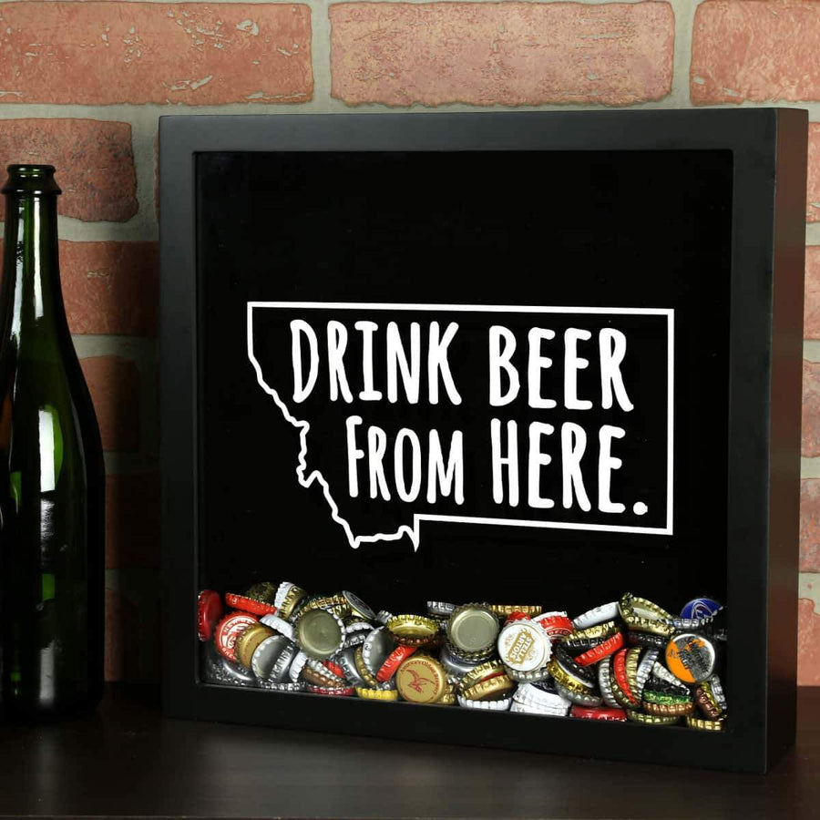 Torched Products Shadow Box Black Montana Drink Beer From Here Beer Cap Shadow Box