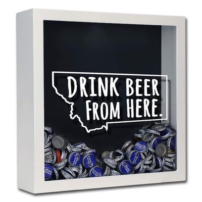 Torched Products Shadow Box White Montana Drink Beer From Here Beer Cap Shadow Box (781179551861)