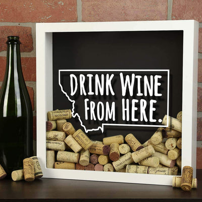 Torched Products Shadow Box Montana Drink Wine From Here Wine Cork Shadow Box