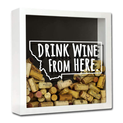 Torched Products Shadow Box White Montana Drink Wine From Here Wine Cork Shadow Box