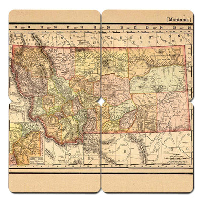 Torched Products Coasters Montana Old World Map Coaster (790594257013)
