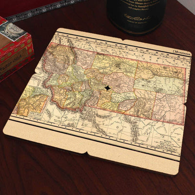 Torched Products Coasters Montana Old World Map Coaster