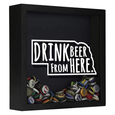 Torched Products Shadow Box Black Nebraska Drink Beer From Here Beer Cap Shadow Box
