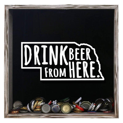 Torched Products Shadow Box Gray Nebraska Drink Beer From Here Beer Cap Shadow Box (781181485173)
