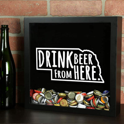 Torched Products Shadow Box Nebraska Drink Beer From Here Beer Cap Shadow Box (781181485173)