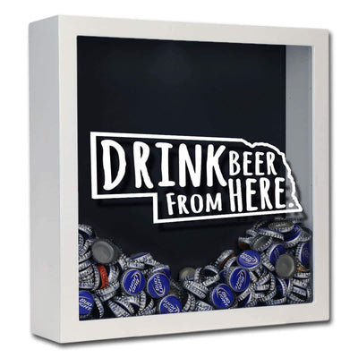 Torched Products Shadow Box White Nebraska Drink Beer From Here Beer Cap Shadow Box (781181485173)