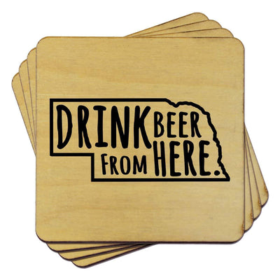 Torched Products Coasters Nebraska Drink Beer From Here Coasters (781452935285)