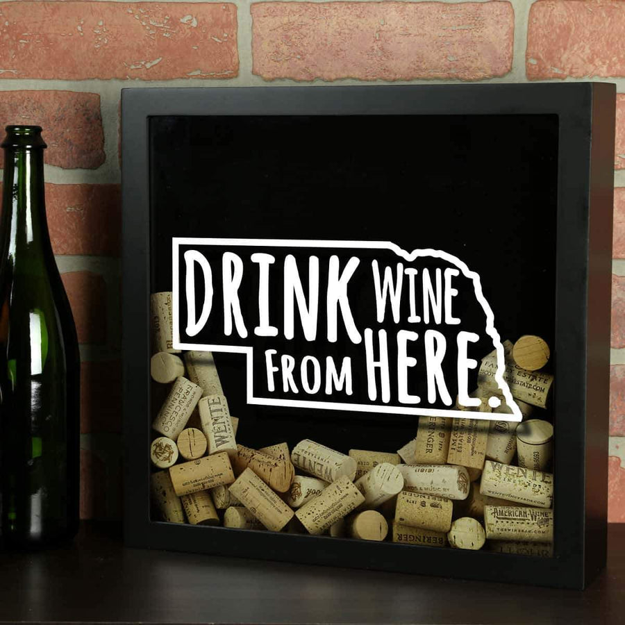 Torched Products Shadow Box Black Nebraska Drink Wine From Here Wine Cork Shadow Box