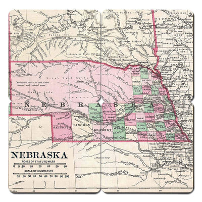 Torched Products Coasters Nebraska Old World Map Coaster (790594617461)