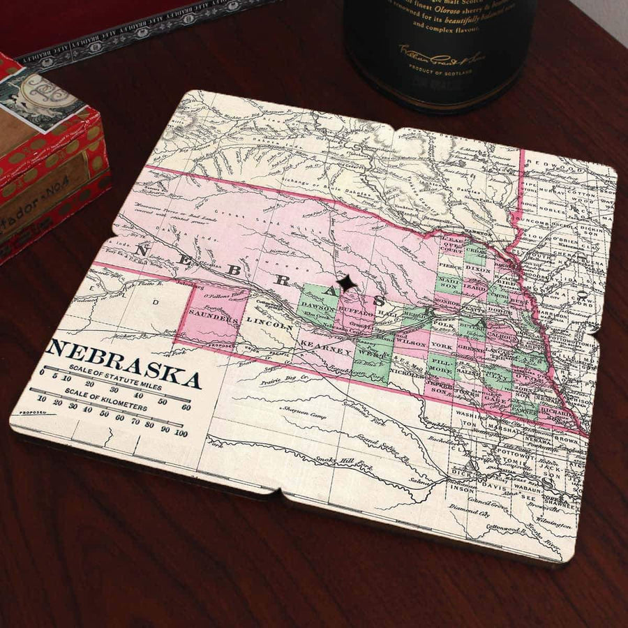 Torched Products Coasters Nebraska Old World Map Coaster