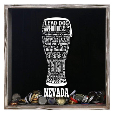 Torched Products Shadow Box Gray Nevada Beer Typography Shadow Box (779381637237)