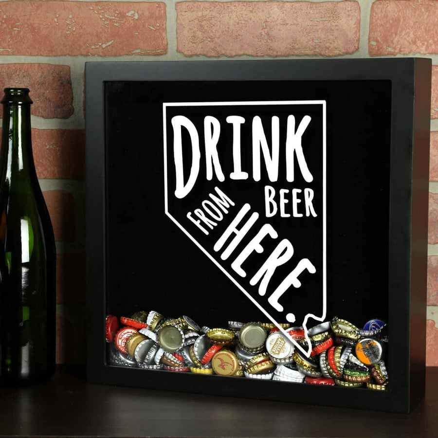 Torched Products Shadow Box Black Nevada Drink Beer From Here Beer Cap Shadow Box (781182369909)