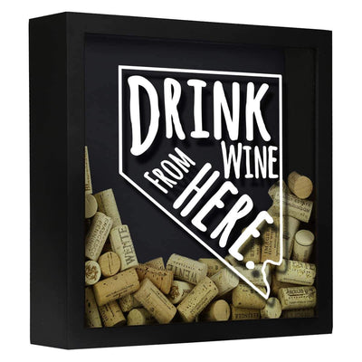 Torched Products Shadow Box Black Nevada Drink Wine From Here Wine Cork Shadow Box