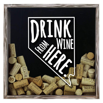 Torched Products Shadow Box Gray Nevada Drink Wine From Here Wine Cork Shadow Box (795753906293)