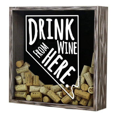Torched Products Shadow Box Nevada Drink Wine From Here Wine Cork Shadow Box (795753906293)